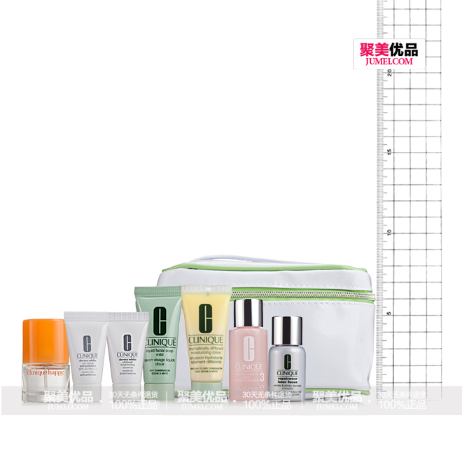 倩碧 (Clinique) 三步骤礼包八件套(洁面皂 15ml ,洁肤水 2 号 15ml ,润肤乳 15ml ,精华露 7ml ,隔离霜 7ml ,精华露 7ml ,香氛 4ml ,化妆包 2 种样式),打造健康亮丽美肌效果。