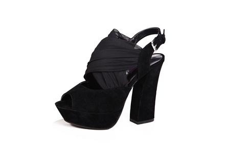 欧美时尚纱布凉鞋黑色