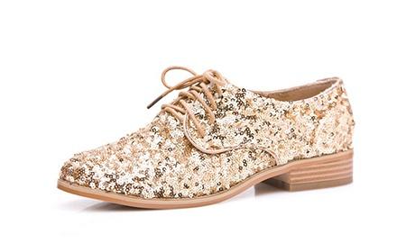 欧美潮流时尚女单鞋金色