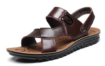 bezir 男士两穿真皮沙滩鞋