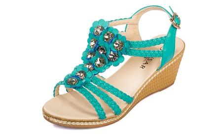 波西米亚真皮坡跟凉鞋蓝色
