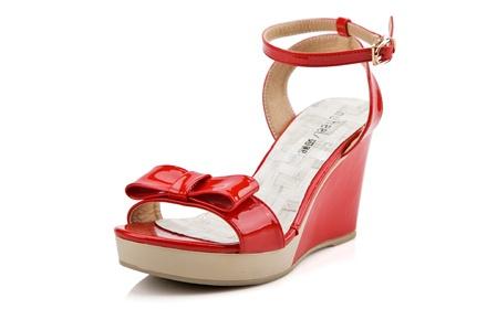 如熙 韩版潮流蝴蝶结凉鞋红色