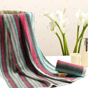 中国•荻嘉茂 横织彩条全棉棉毛巾套装