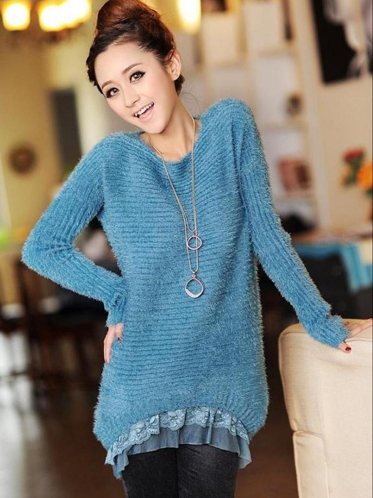 蕾丝花边毛衣a2蓝色