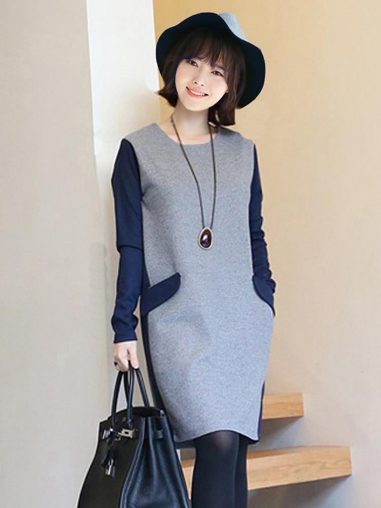 冬款女装气质打底裙藏青色