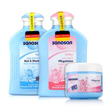 哈罗闪(Sanosan)洗护二合一套装(婴儿2合1洗发沐浴露200ml+婴儿柔润护肤乳200ml+婴儿柔润护肤霜150ml)