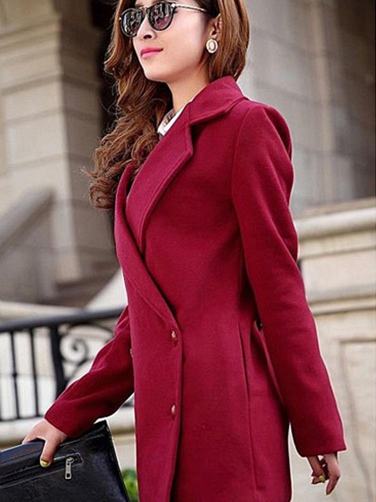 酒红色 呢子大衣修身款