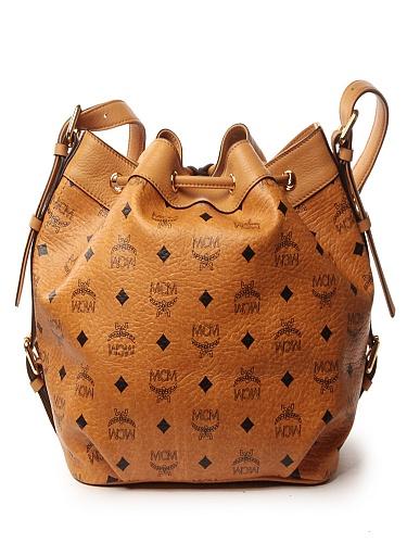 mcm 女式棕色pvc配皮水桶包i48co