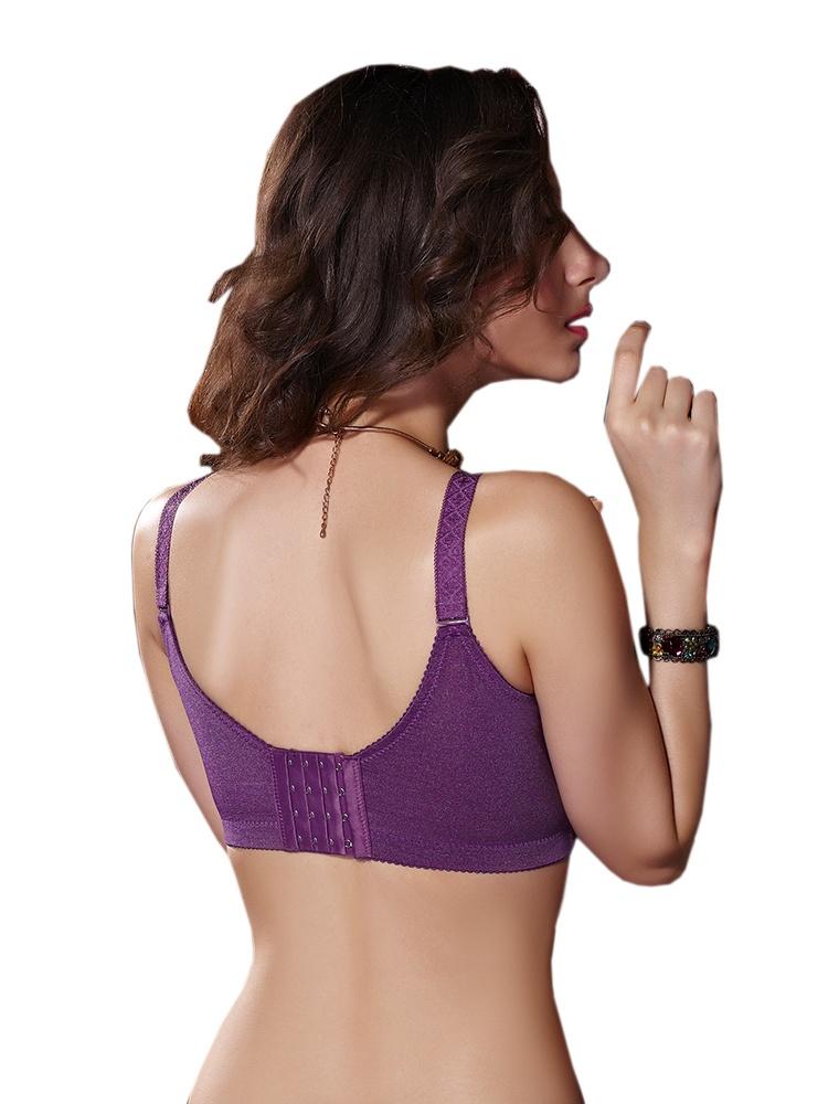 紫孔雀羽毛刺绣调整型文胸