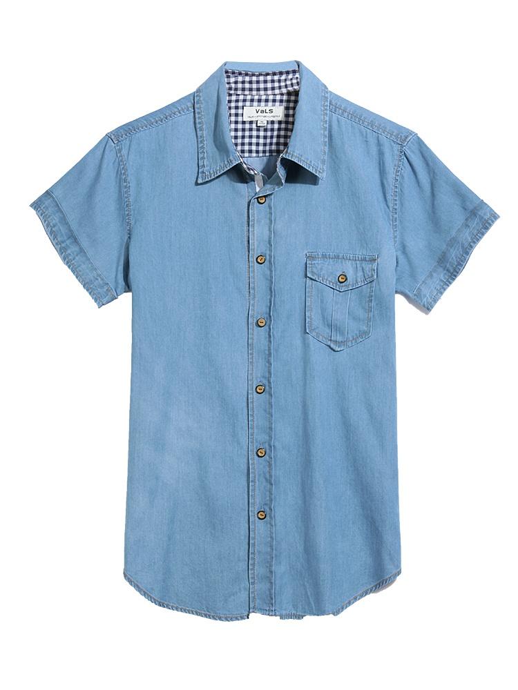时尚洗水牛仔短袖衬衣浅蓝