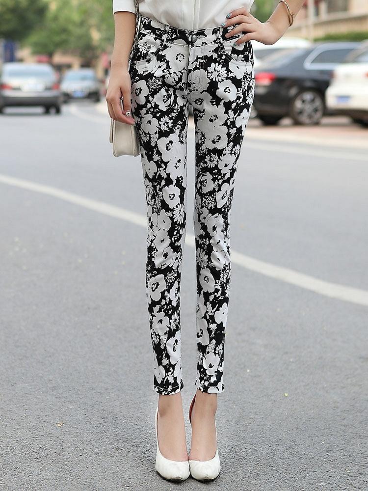 门标衹�c_琛光秀依 修身铅笔花裤黑白花 - 聚美优品 - 最大正品