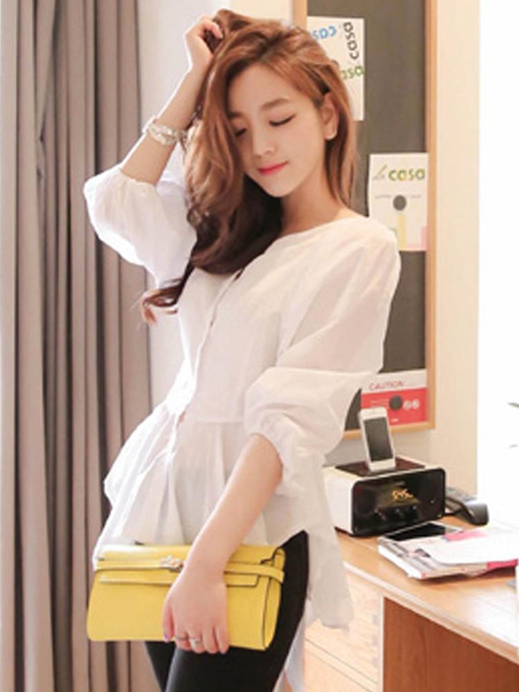 CMYK 夏季新款V领泡泡袖衬衫白色 - 聚美优品