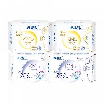 中国•ABC棉柔0.1cm轻透薄卫生巾旅行装组合4包(日16片+加长夜用6片)