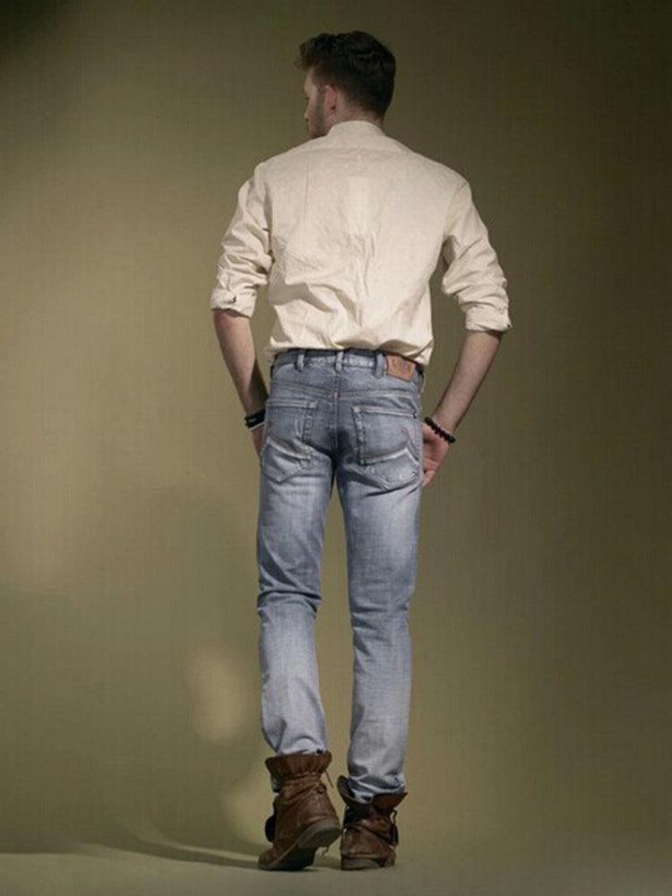 爱肯夏季男士牛仔裤直筒破洞浅色韩版裤子修身型潮薄