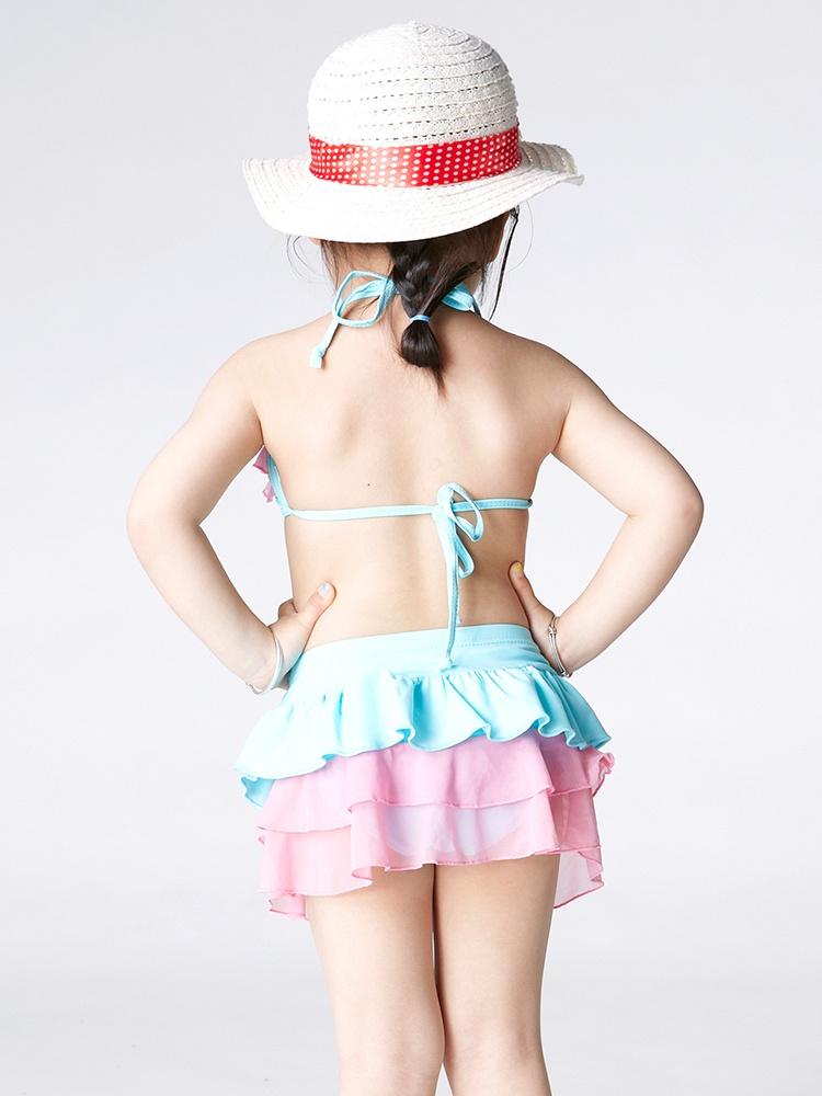 haoshou号手可爱粉红花纹儿童女泳装时尚安全
