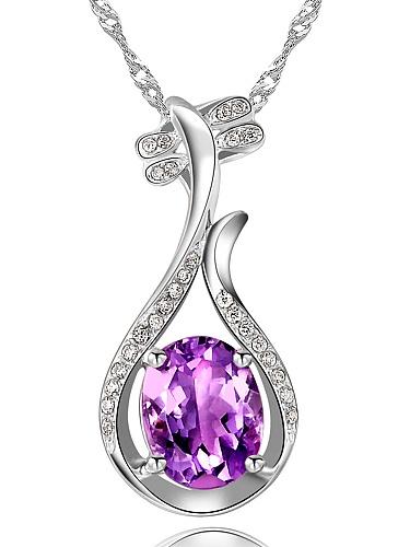 柏荷 璀璨紫水晶琵琶项链