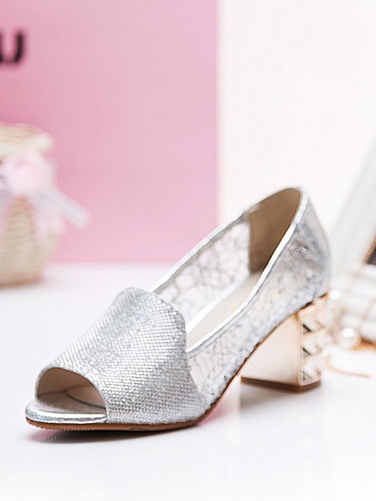 毅雅时尚鱼嘴网纱设备银2746912-聚美优品凉鞋v时尚色标图片