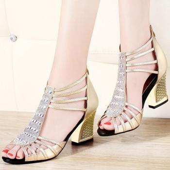 罗马凉鞋韩版百搭?#25351;?#40060;嘴高跟鞋