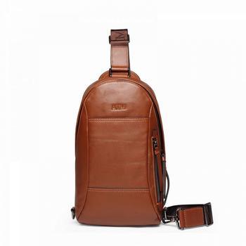 AIM时尚?#20961;?#29275;皮胸包斜跨包背包