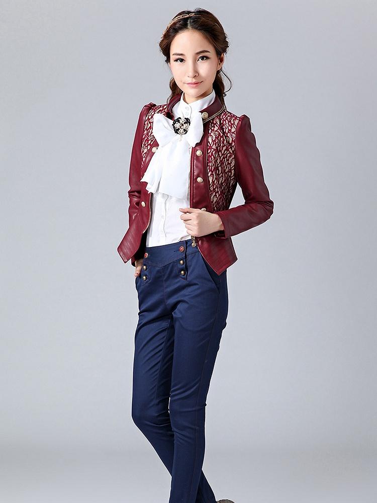 欧式复古短外套酒红色pu皮衣