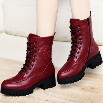 秋冬季短靴?#25351;?#39532;丁靴高跟女鞋
