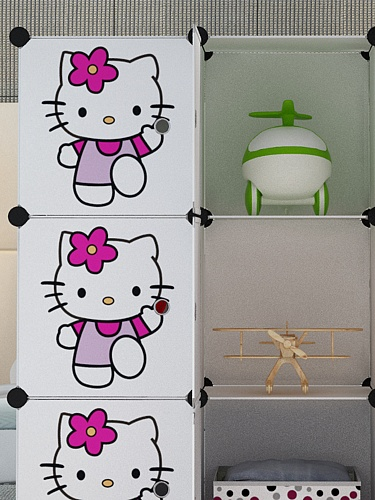 12格魔片衣柜 白色配猫门