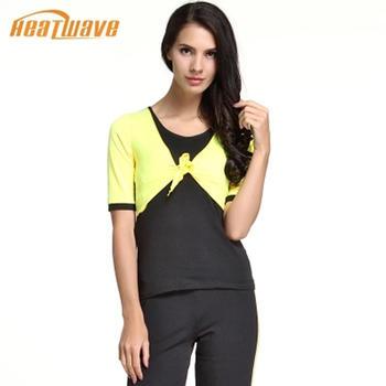 热浪 黄/黑色时尚修身瑜伽短袖