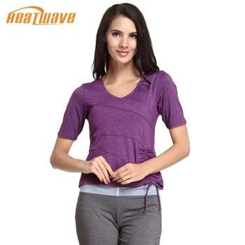 热浪 女款紫色简约修身短袖瑜伽服上衣