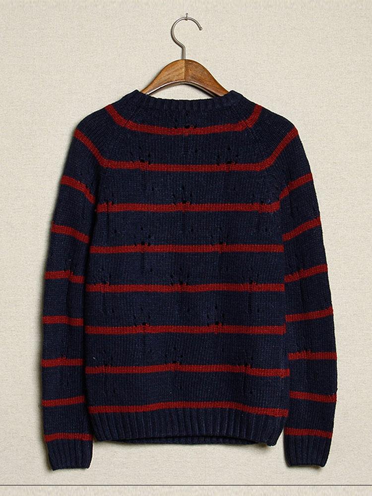 条纹提花男士毛衣