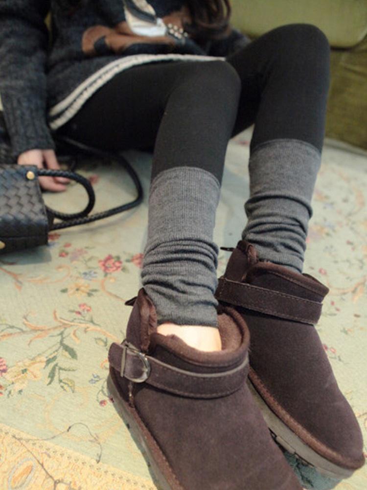 九茵 堆堆袜秋冬加厚踩脚裤黑色 - 聚美优品 - 最