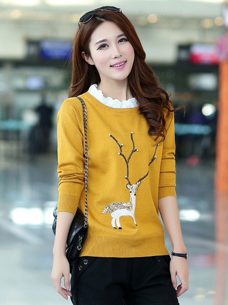 时尚花边圆领珠片小鹿图案毛衣
