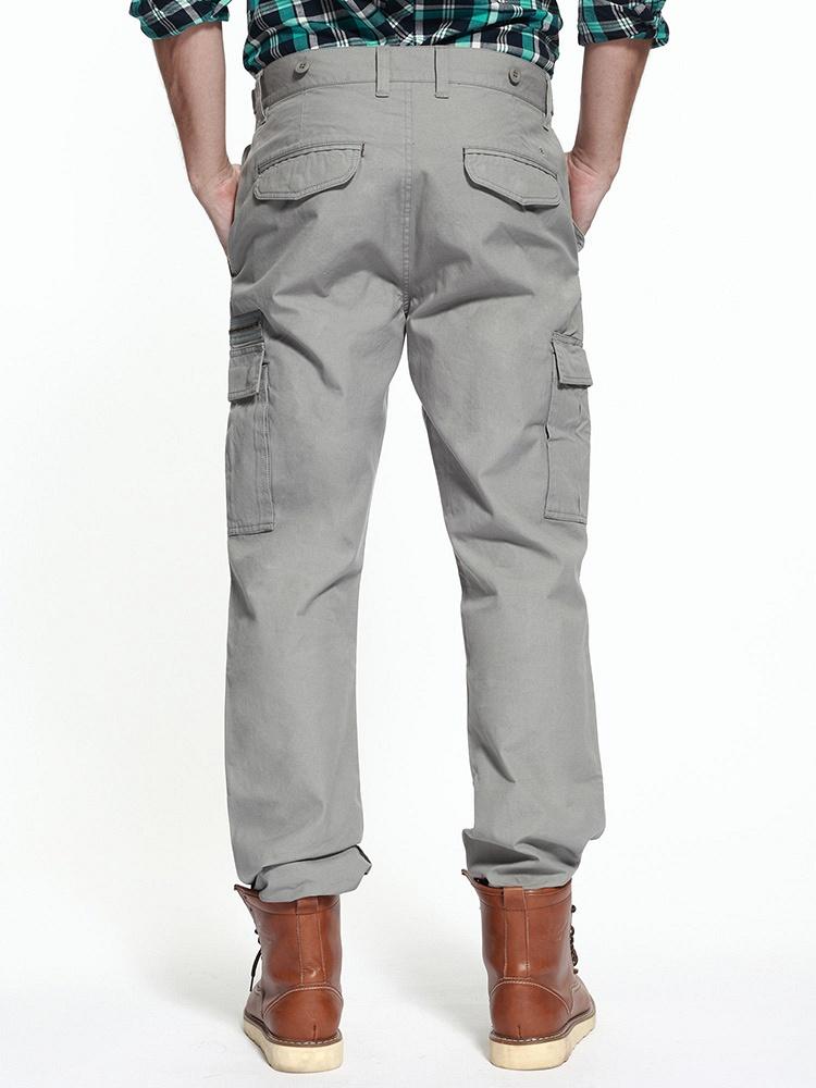 多口袋按扣膝盖立体结构中灰男士直筒休闲裤男装
