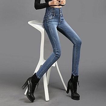 中国•春季高腰排扣D337弹力铅笔裤