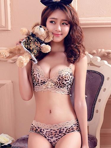 性感蕾丝花边豹纹诱惑套装咖啡色