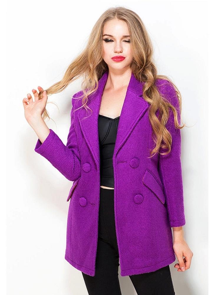 紫色 中长款西装呢外套
