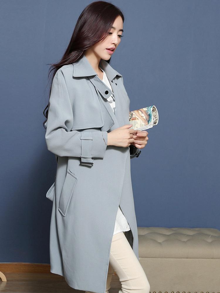2015春装新款欧美大牌蓝灰色风衣 - 聚美优品