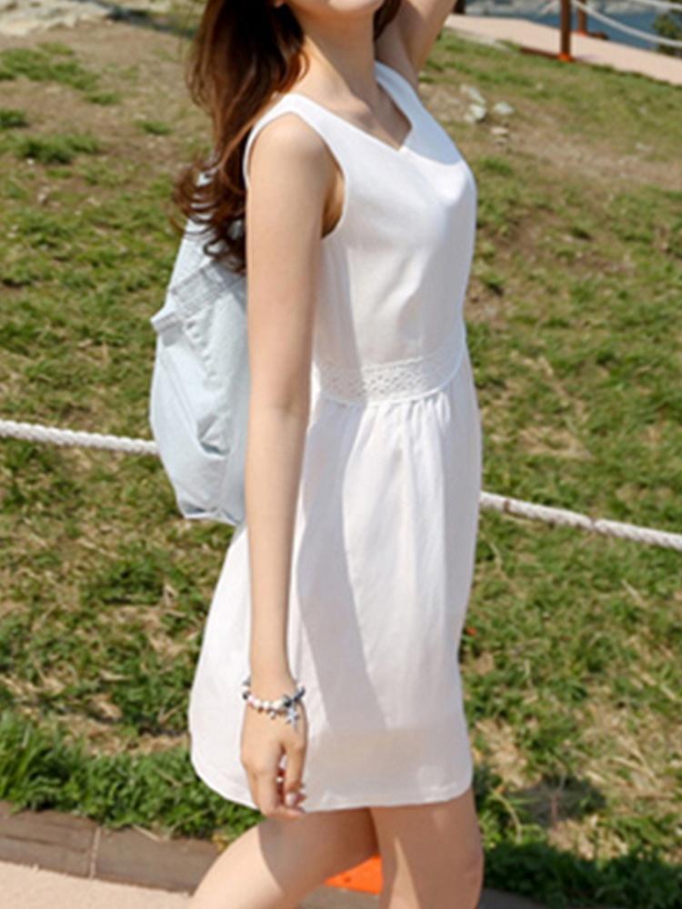 小清新无袖棉麻连衣裙白色