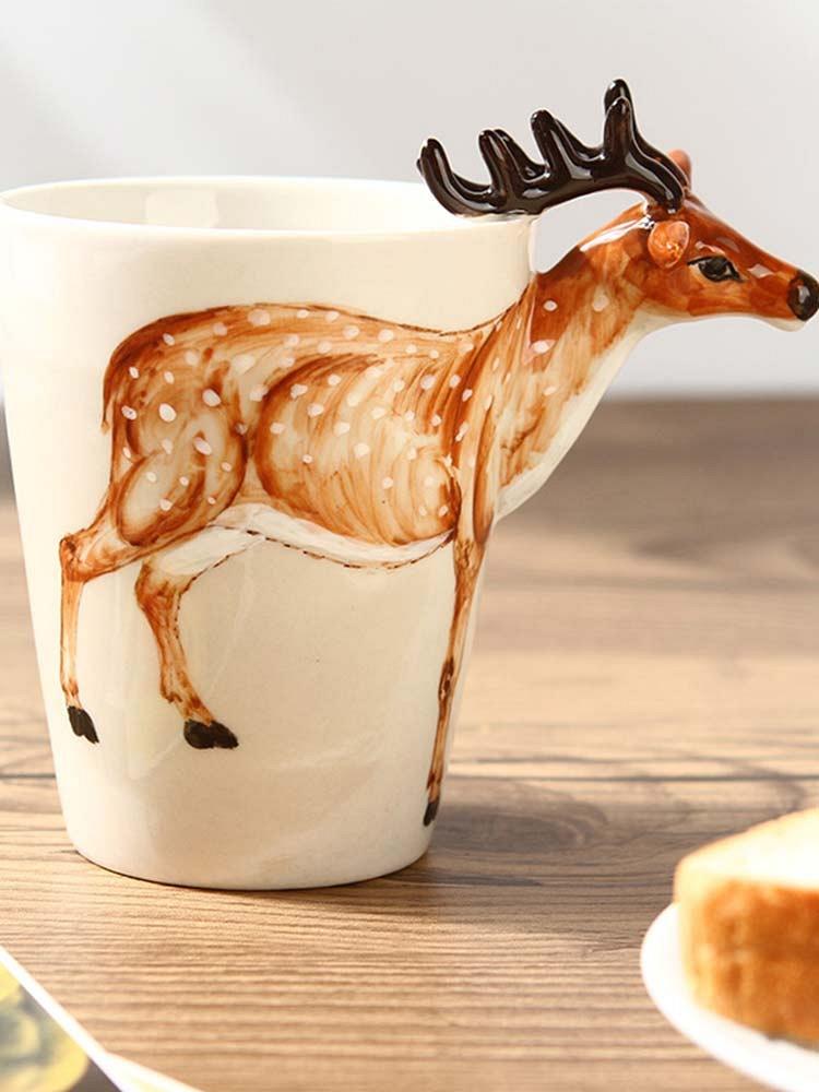 3d立体纯手绘动物杯-梅花鹿款