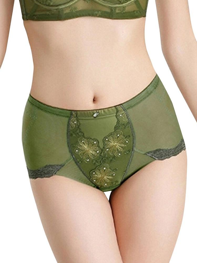 低腰包臀刺绣花边可爱内裤军绿色