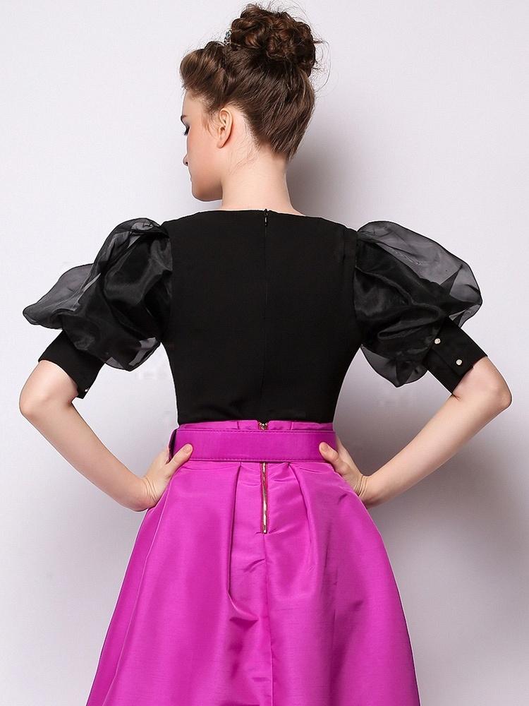 泡泡袖百搭公主范衬衫-156888黑色 - 聚美优品