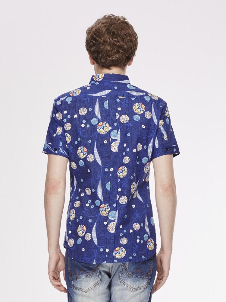男士短袖舒适纯棉碎花短衬衫