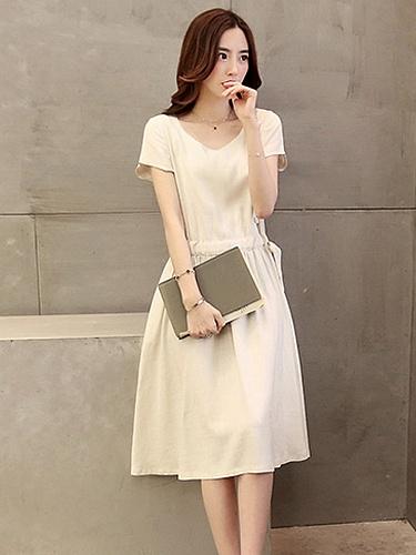 侧面纽扣连衣裙h261米白