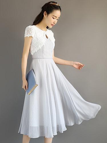 尤麦2015夏季新款欧式复古长款蕾丝网纱雪纺连衣裙女