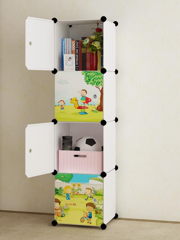 简易组装创意收纳柜 彩色卡通