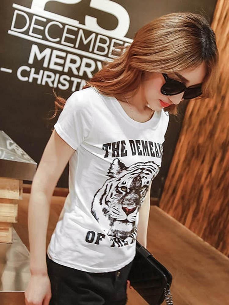 白色老虎印花短袖女T恤 - 聚美优品 - 最大正品