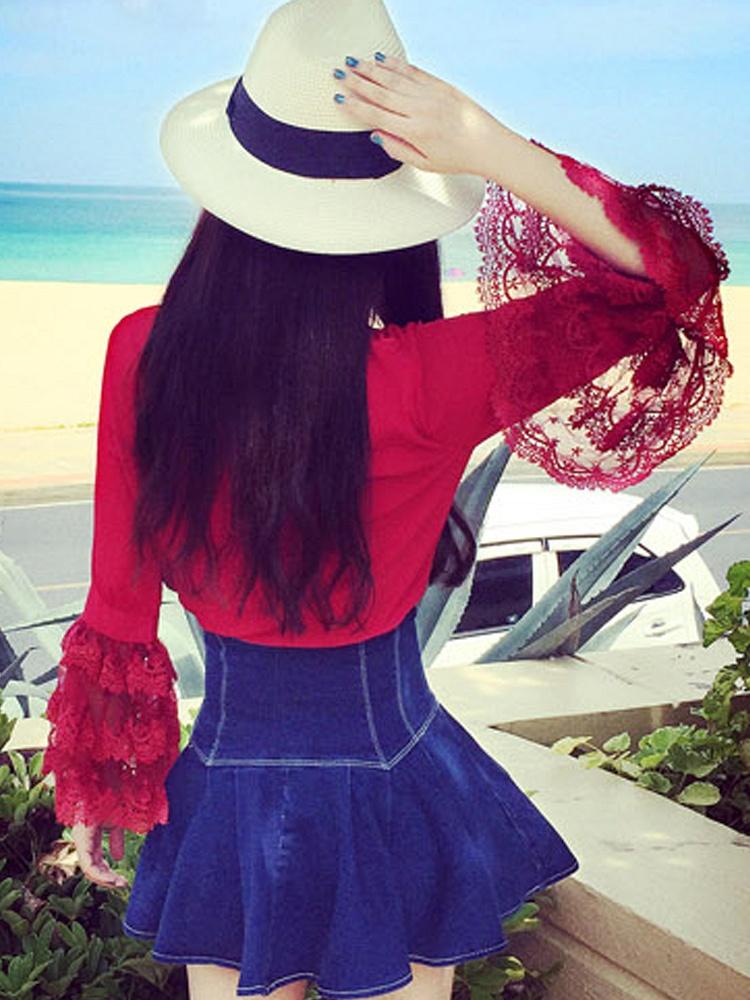 小仙女喇叭花边袖子红色雪纺衫