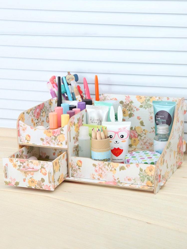 木质桌面化妆品收纳盒收纳箱