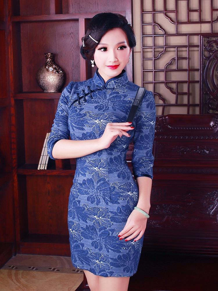 如意风 2015春装复古长款旗袍连衣裙 新款改良时尚中袖旗袍裙