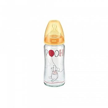 德国•nuk耐高温240ml宽口玻璃彩色迪士尼维尼奶瓶(带初生型硅胶中圆孔奶嘴,适合0-6个月)