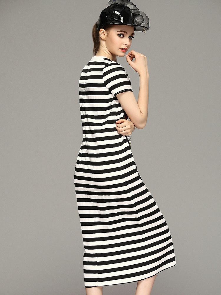 春夏女装重工卡通动物亮片黑白撞色条纹长款修身